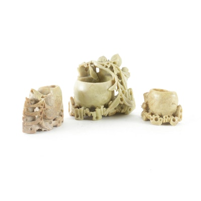 Chinese Soapstone Hand Crafted Inkwells, Early-Mid 20th-Century