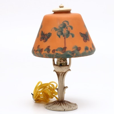 Aladdin Table Lamp with Reverse Painted Lamp Shade, Circa 1930s