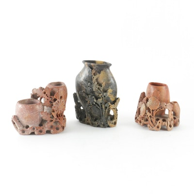Chinese Hand Carved Soapstone Inkwells, Early to Mid 20th Century
