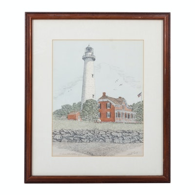 """Martin Barry Hand-Colored Lithograph """"St. Simons Island Lighthouse"""""""