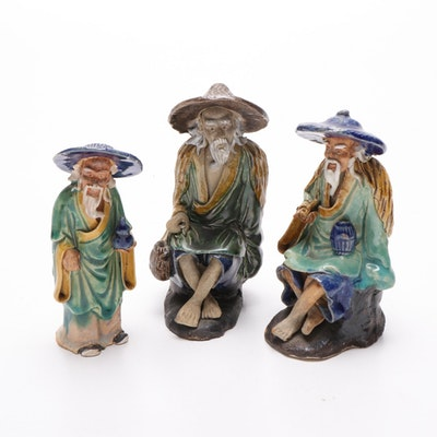 Chinese Shiwan Ware Hand Painted Stoneware Figures