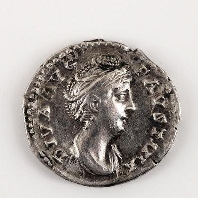 Ancient Rome Faustina I Silver AR Denarius, Circa 148-161 AD