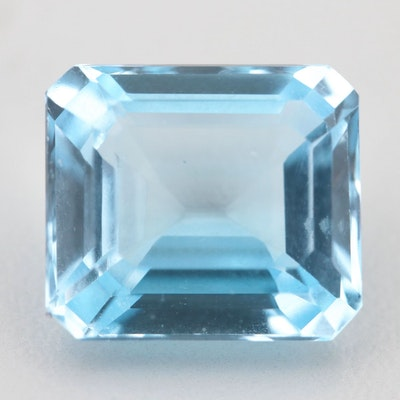 Loose 12.33 CT Blue Topaz Gemstone