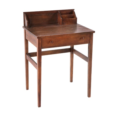 Transitional/Colonial Revival Style Student Desk in Oak, Early 20th Century