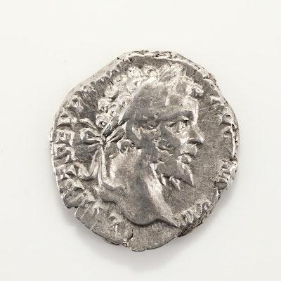 Ancient Rome Septimius Severus Silver Denarius Coin, Circa 196-197
