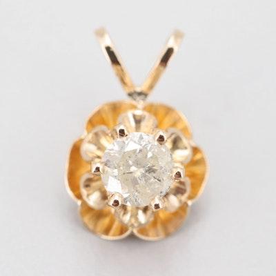 14K Yellow Gold Solitaire Diamond Pendant