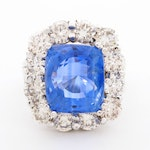 14K White Gold 12.58 CT Sapphire and 3.96 CTW Diamond Ring with GIA Report