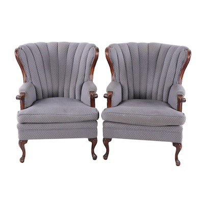 Pair of Channel Back Upholstered Armchairs, Circa 1940