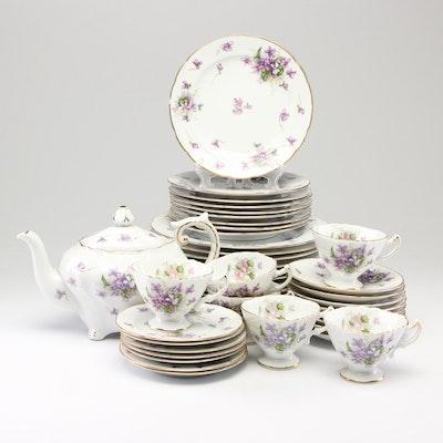 "Rossetti Occupied Japan ""Spring Violets"" Porcelain Dinnerware, 1945-1952"
