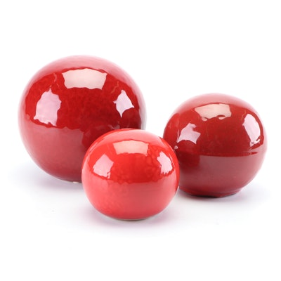 Ceramic Gazing Ball Decor in Shades of Red