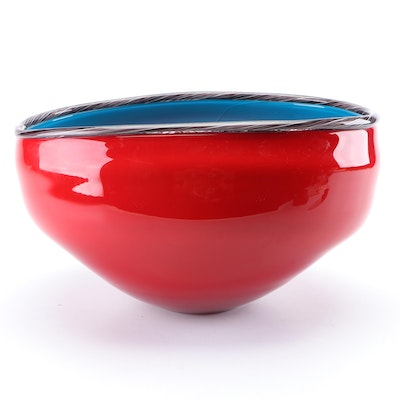 Two Toned Art Glass Serving Bowl
