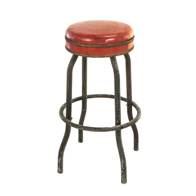 Cosco, Metal and Red Vinyl Swivel Bar Stool, Mid 20th Century