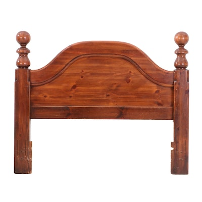 Cherry Finish Pine Queen Size Headboard, Mid to Late 20th Century