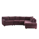 Sectional Sofa with Dark Purple Fabric Upholstery
