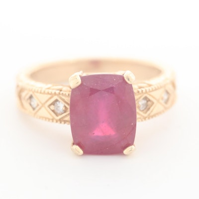14K Yellow Gold Corundum and Diamond Ring