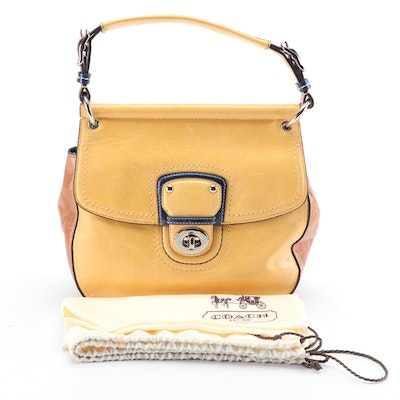 Coach Willis Colorblock Leather Flap Front Turnlock Convertible Crossbody Bag