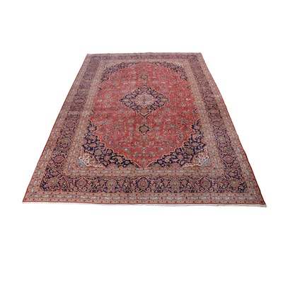 9'4 x 13'4 Hand-Knotted Persian Kashan Room Sized Rug, Circa 1970s
