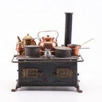 Miniature Iron Dollhouse Stove with Accessories