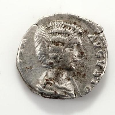 Ancient Rome Julia Domna AR Denarius Silver Coin, Circa 196-198 AD