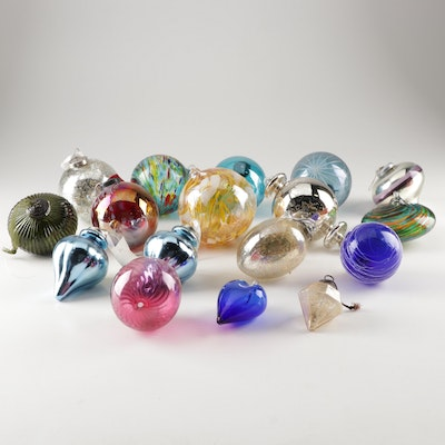 Christmas Tree Ornaments with Hand Blown Glass Including Zorza