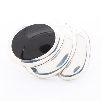 Mexican Sterling Silver Obsidian Glass Brooch