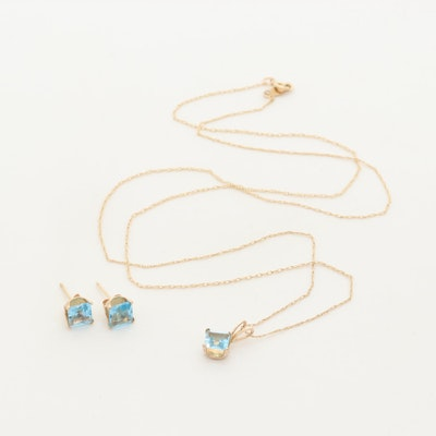10K Yellow Gold Topaz Necklace and Earring Set