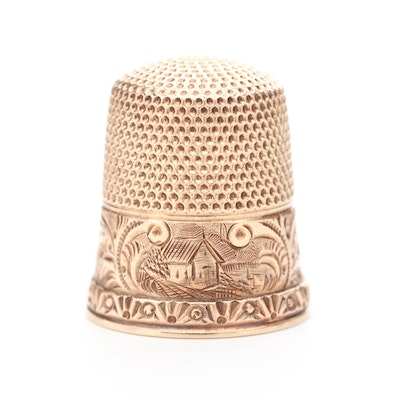 Vintage 10K Rose Gold Thimble with Landscape Engraving and Stamp Work
