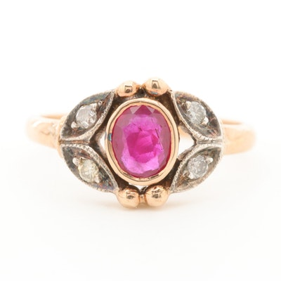 Vintage 14K Yellow Gold Ruby and Diamond Ring with Sterling Silver on Shoulders