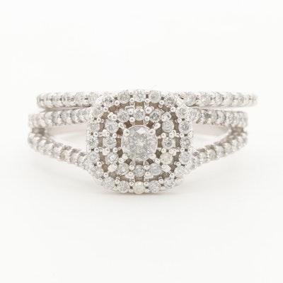 10K White Gold Diamond Ring and Band Set