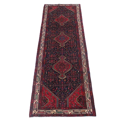 3'5 x 10'2 Hand-Knotted Persian Malayer Carpet Runner
