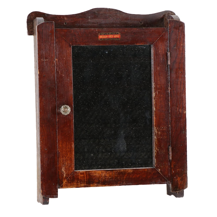 Oak Retail Store Cabinet by American Linen Supply, Early 20th Century
