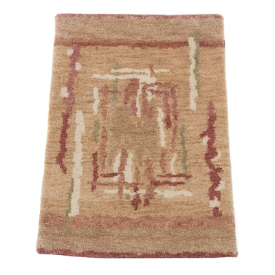 2' x 3' Hand-Knotted Indian Mid Century Modern Style Rug
