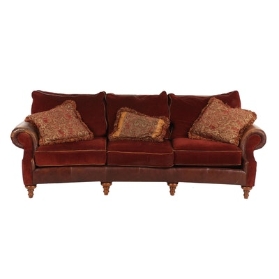 Mayo Furniture Fabric and Leather Upholstered Sofa, Late 20th Century