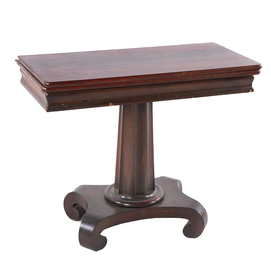American Empire Style Mahogany Card Table, Late 19th / Early 20th Century