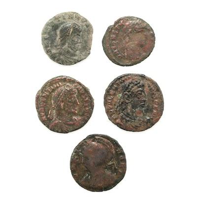 Five Ancient Rome Bronze Follis Coins