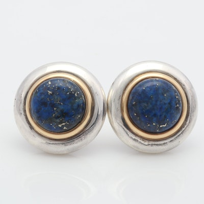 Vintage Gucci Sterling Silver, 14K Yellow Gold and Lapis Earrings