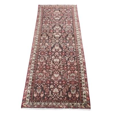 3'9 x 10'1 Hand-Knotted Persian Mahal Long Rug, Circa 1970s