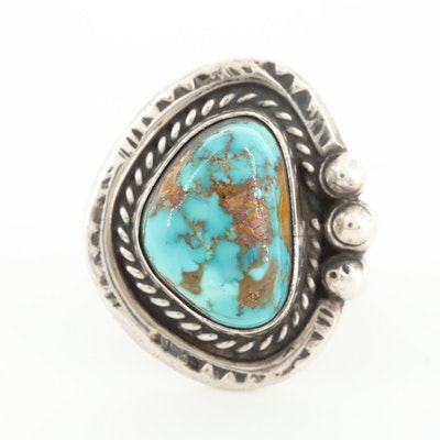 Southwestern Style Sterling Silver Turquoise Ring