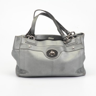 Coach Penelope Silver Metallic Pebbled Leather Turnlock Carryall Satchel