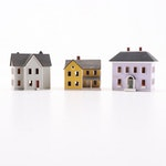 Signed G & M Gudgel Miniature Victorian Style Houses, Vintage