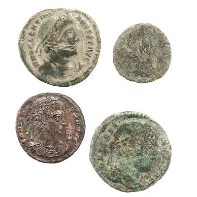 Four Ancient Rome Bronze Follis Coins
