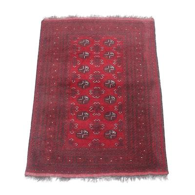 3'5 x 5'1 Hand-Knotted Afghani Turkoman Rug, Circa 1950s
