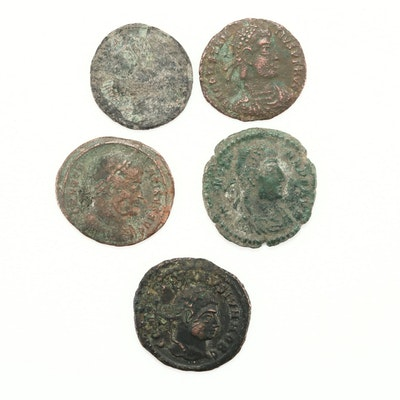 Five Ancient Roman Constantine Family Copper/Bronze Coins