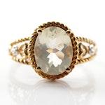 10K Yellow Gold 2.20 CT Yellow Labradorite and Diamond Ring