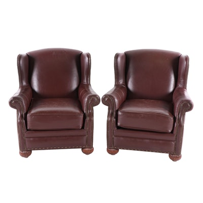 Pair of Choice Seating Gallery Leather Upholstered Wingback Armchairs