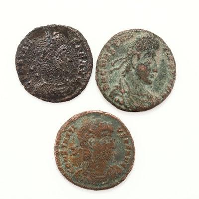 Three Ancient Rome Constans and Constantius II Copper/Bronze Coins