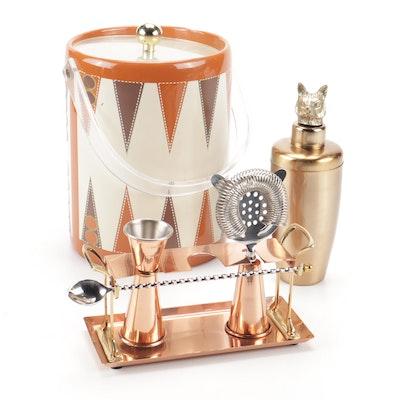 Oleg Cassini Ice Bucket and Copper Cocktail Set