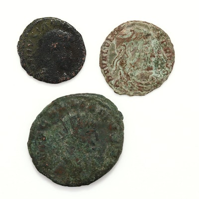 Three Ancient Rome Coins Including Follis and Antoninus Coins