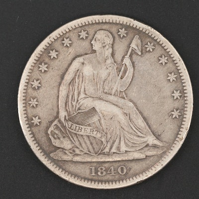 1840 Seated Liberty Silver Half Dollar