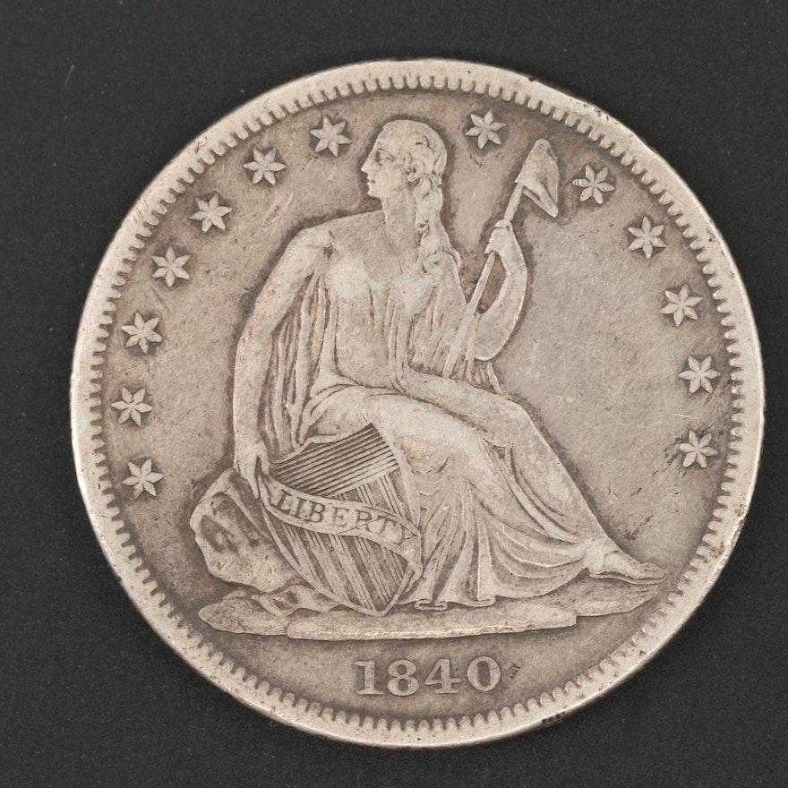 1840 Seated Liberty Silver Half Dollar